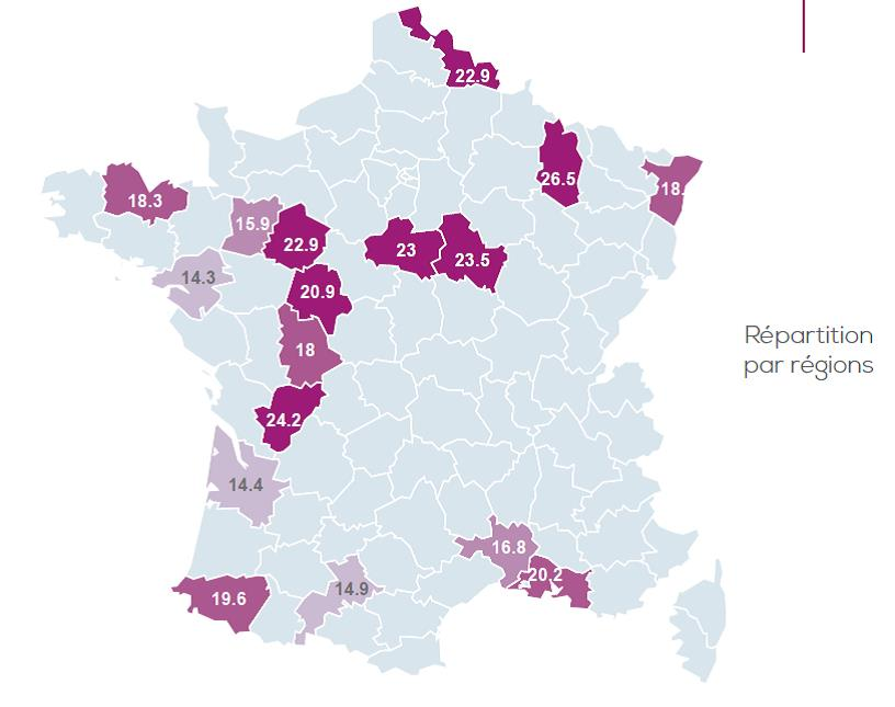 NASH en France : répartition par région